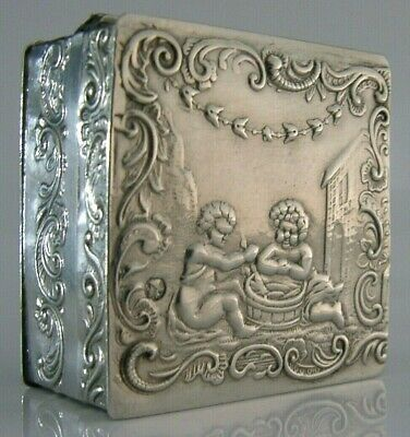 QUALITY SOLID STERLING SILVER CHERUB TABLE BOX 1892 ANTIQUE VICTORIAN 56g
