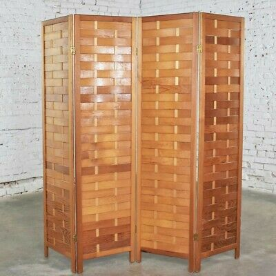 Mid Century Woven Wood Folding Screen 4 Panel Room Divider in Pine