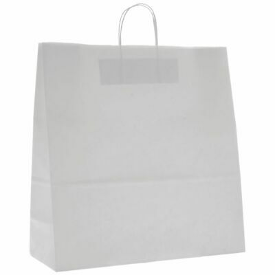 "Paper Shopping Bags with Handles White 16"" x 13"" 250 per Cases"