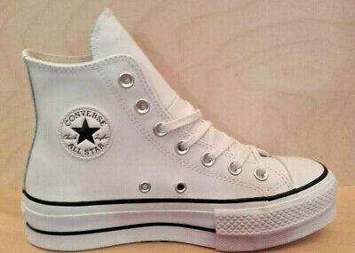 900 Converse Scarpa/Shoes Chuck Taylor All Star Lift Cle White Leather 561676C