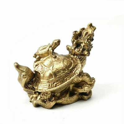 Chinese Gold Feng Shui Dragon Turtle Tortoise Statue Figurine Coin Money Lucky