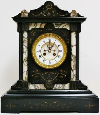 Very Rare Antique French 8Day Slate & Marble 1/4 Striking Ting Tang Mantel Clock