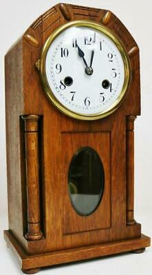 Superb Antique German Arts & Crafts 8 Day Carved Oak Gong Striking mantel Clock