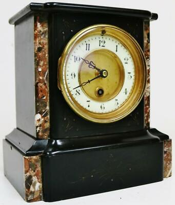 Antique 19thC French 8 Day Engraved Slate & Colour Marble Timepiece Mantel Clock