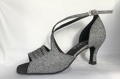 Ladies Black Silver Sparkle Ballroom, Latin, Salsa Dance Shoes - UK Sizes 3 - 8