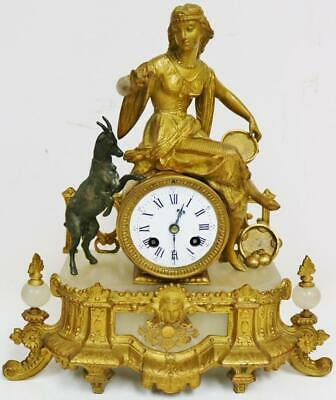 Antique French 8 Day Bell Striking Gilt Metal Lady & Goat Figurine Mantel Clock