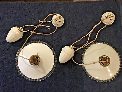 Beautiful Matching Pair of Antique French White Ceramic Rise and Fall Lights