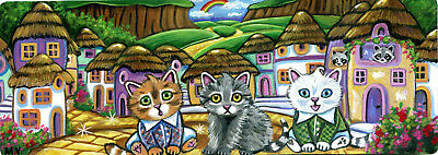 Kittens Wizard of Oz Munchkin Land Fairy Tale Rainbow Double ACEO Painting Print