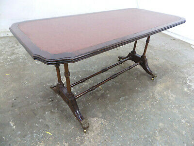antique,repro,rectangle,mahogany,coffee table,turned supports,castors,table