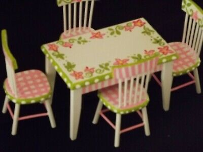 Hand Painted Doll House Furniture ARTISAN Table & Chairs 1:12 Detailed Signed