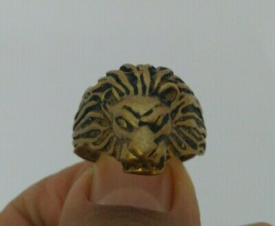 Extremely Rare Ancient Ring Bronze Viking Lion Artifact Authentic Very Stunning
