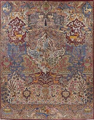 Vintage Pictorial Kashmar Oriental Area Rug Wool Hand-Knotted Dining Room 10x13