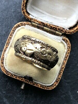 Antique Victorian Ornate Super Wide Heavy Ornate Thick Gold Band