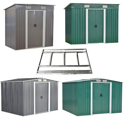 New Garden Shed Metal Pent/Apex Roof Outdoor Storage With Free Foundation 4 size
