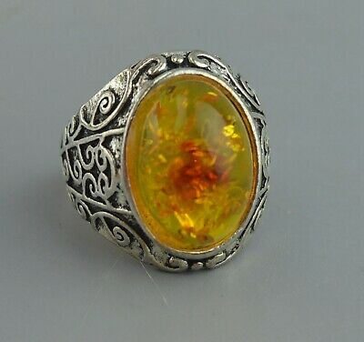 China Collectable Handwork Old Miao Silver Carve Flower Inlay Amber Noble Ring