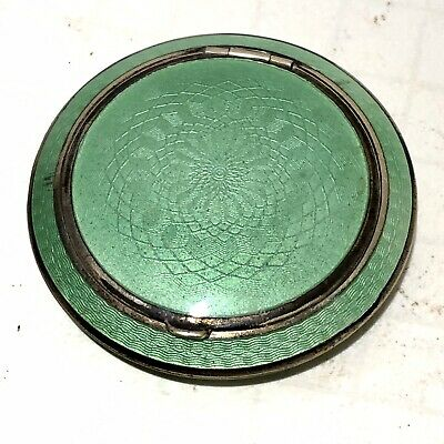 VINTAGE Antique Sterling Silver Guilloche Enamel Compact C1920-30s Green Pillbox