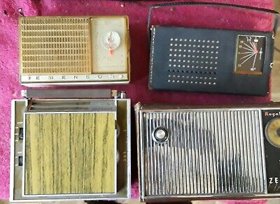 Lot Of (4) Transistor Radios - (2) Zenith, (1) Emerson, (1) Realtone 4 Parts
