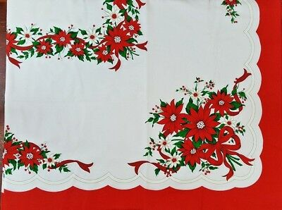 "Poinsettia & Ribbon Tablecloth & 8 Matching Napkins Christmas Red 52"" x 68"" NWOT"