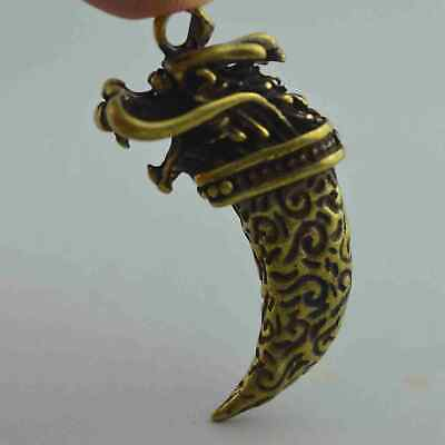 China Collection Handwork Miao Silver Carve Dragon Head Exorcism Unique Pendant