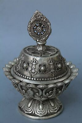 Collection Handwork Decor Old Miao Silver Carve Flower Wealthy Auspicious Box