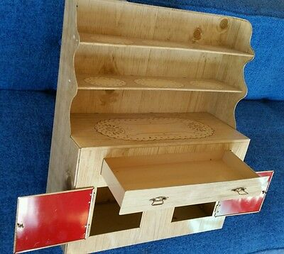 Vtg Tin Toy Cupboard Hutch Pennsylvania Dutch Litho Faux Wood and Doilies
