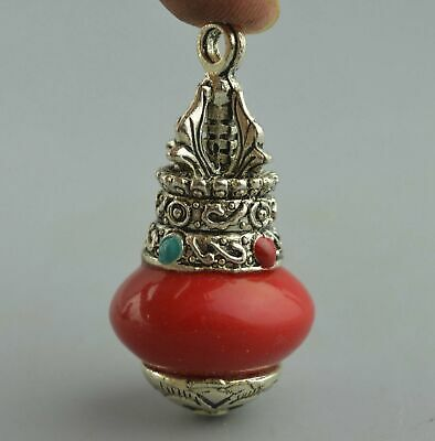Collection Handwork Miao Silver Carve Totem Inlay Agate Auspicious Tibet Pendant