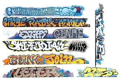HO COLORFUL GRAFFITI  DECALS ASSORTMENT 335 FOR LONGER CARS FREE SHIPPING