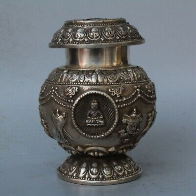 China Collectable Old Miao SIlver Carve Buddha Totem Exorcism Souvenir Spice Pot