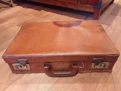 Vintage Brown Leather Attache Briefcase By William Barber