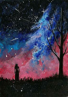 ACEO Galaxy universe space surreal original painting acrylic art card