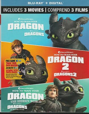 HOW TO TRAIN YOUR DRAGON 3 MOVIE TRILOGY BLURAY & DIGITAL SET Brand New & Sealed