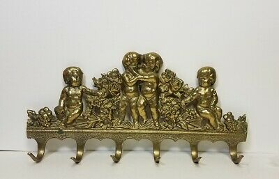 Vtg Solid Brass Key Hook Cherubs Angels Wall Mount Kitchen Utensil Holder