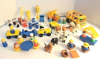 Vintage Fisher Price Little People Lot Animals Mail Fire Truck School Bus