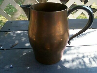 Vintage Oneida USA Copper Water Pitcher Jug With Ice Catcher & Heavy