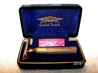 Vtg. 1940's Gillette GOLD TECH Fat Handle Safety Razor With Case & Blades
