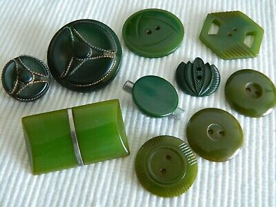 LOT Vintage Green BAKELITE  Buttons w METAL-Carved- SHAPES Lg- Small
