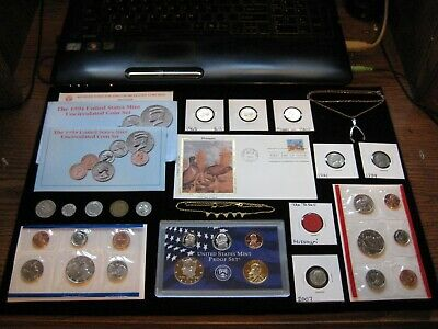Junk Drawer BIG Coin lot Proof Set Lot Jewelry Lot SILK PHEASANT STAMP Old Coins