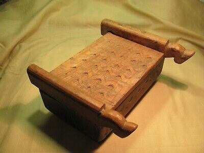 An Antique/Vintage Hand Carved Wood Leg Hoof Box Egyptian Middle East