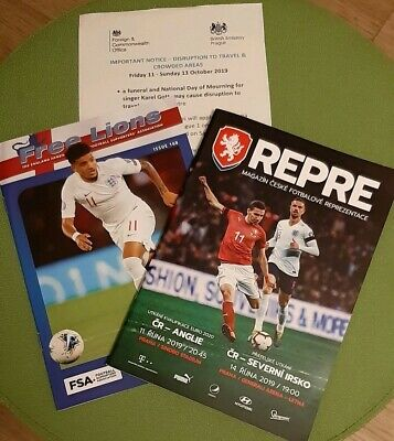 Czech Rep V England Programme and Free Lions 11.10.19