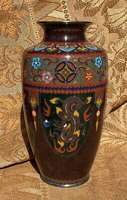 "Circa 1900 Japanese Cloisonné Enamel Vase Dragon & Phoenix 7.25"" high excellent"