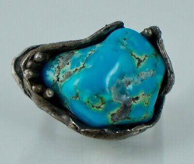 Native American Sterling Silver Blue Turquoise Ring Vintage Heavy Modernist Old