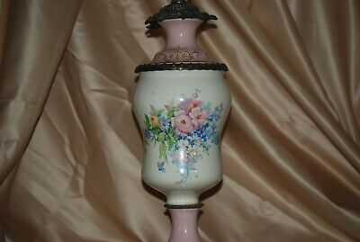 "Antique Victorian Style Handpainted Floral Porcelain Bronze Lamp 26"" Tall"