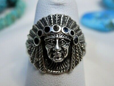 NAVAJO HandCrafted STERLING Silver Native INDIAN WARRIOR CHIEF Ring sz6.5 🦅