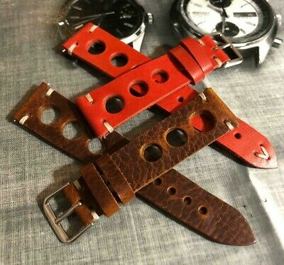 Italian Vintage Genuine Leather Racing watch strap H/Made 18 19 20 21 22mm