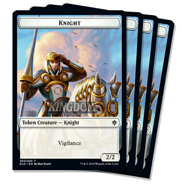 4x Knight Token (White 2/2 Vigilance) - Throne of Eldraine - NM - English - MTG