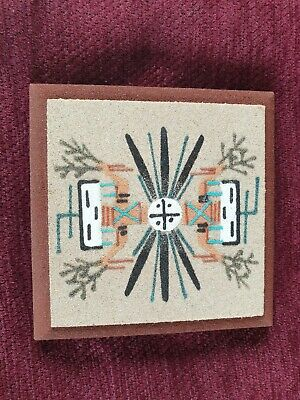 Navjo Sandpainting Plaque.signed Hand Crafted Original By Navajo Indians.tribal