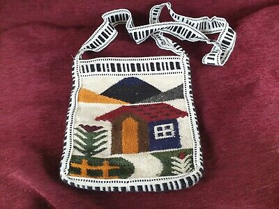 Handcrafted South American Woolen Bag From Peru Ethnic Folk Art Woven Bag
