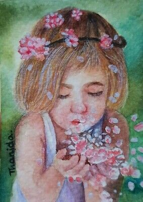 Original ACEO ATC Painting Art Card HBD Gift Girl Floral Pink Portrait Beauty