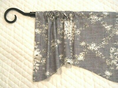 GRAY CURTAIN VALANCE~FRENCH FARMHOUSE TOILE~VALENCE~Grey~Kitchen Window TOPPER