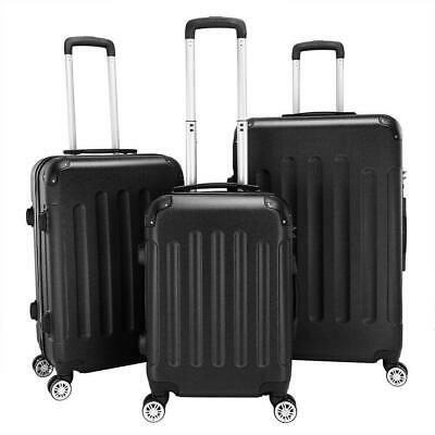 Black 3 Pieces Travel Luggage Set Bag ABS Trolley Carry On Suitcase TSA Lock